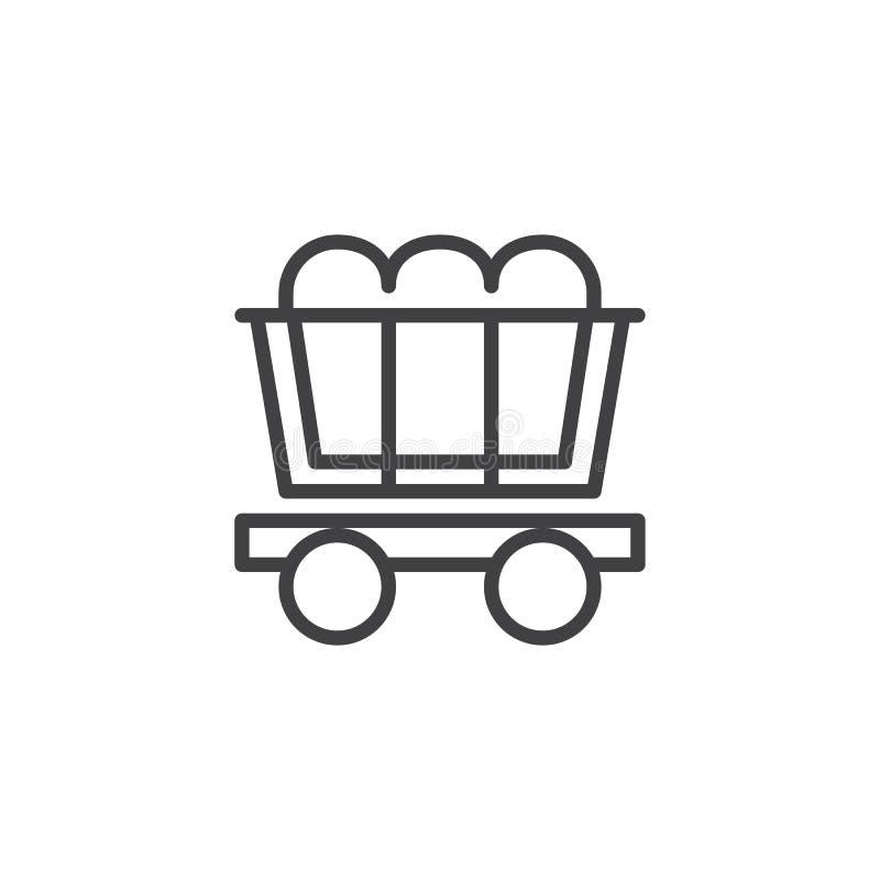 Kolgruvavagnslinje symbol stock illustrationer