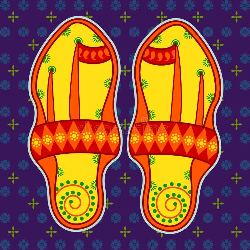Kolhapuri sandal i indisk konststil royaltyfri illustrationer