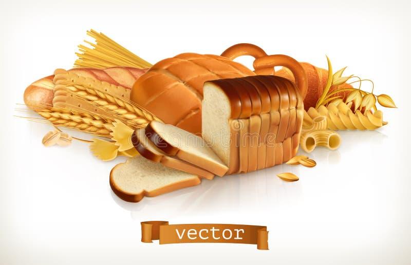 kolhydrat Bröd, pasta, vete och sädesslag också vektor för coreldrawillustration royaltyfri illustrationer
