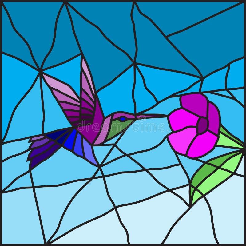 Kolibri auf einem Blumenbuntglas lizenzfreie abbildung