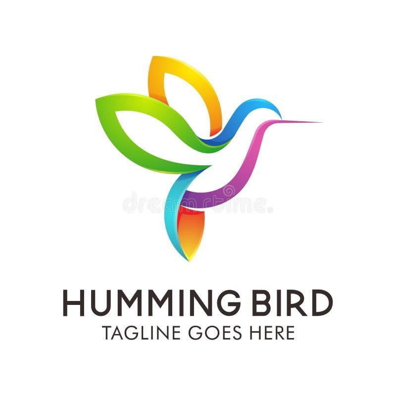 Kolibri Logo Design, modern djur vektorillustrationsymbol vektor illustrationer