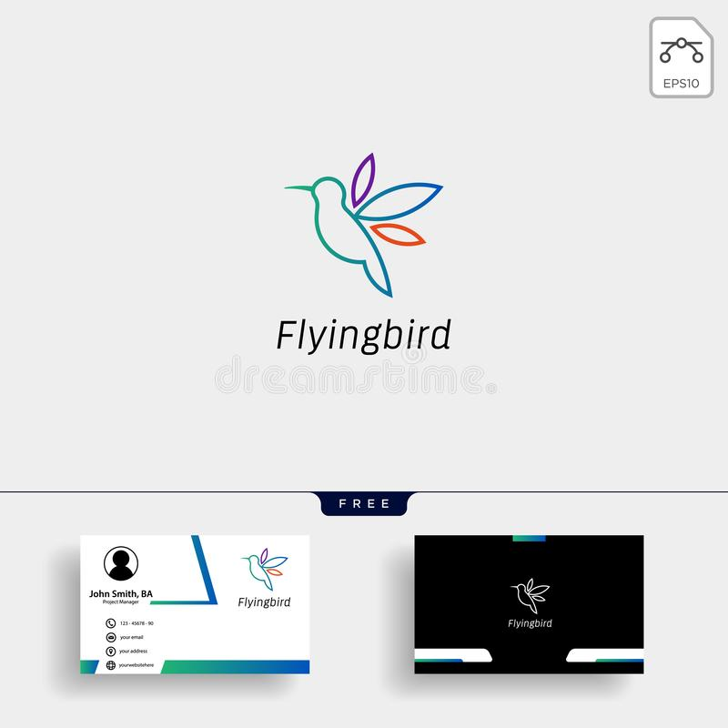Kolibri mall för logo för colibriflygfågel med affärskortet stock illustrationer