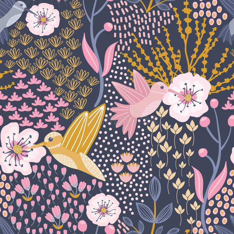 Kolibri- och Cherry Blossom Blue Background Seamless modell royaltyfri illustrationer
