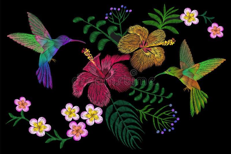 Kolibri runt om blomningen för sommar för blommaplumeriahibiskus den exotiska tropiska Textil för garnering för broderimodelapp vektor illustrationer
