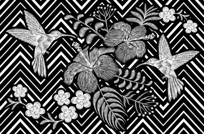 Kolibri um exotische tropische Sommerblüte Blume Plumeriahibiscus Frangipani Stickereimodeflecken vektor abbildung