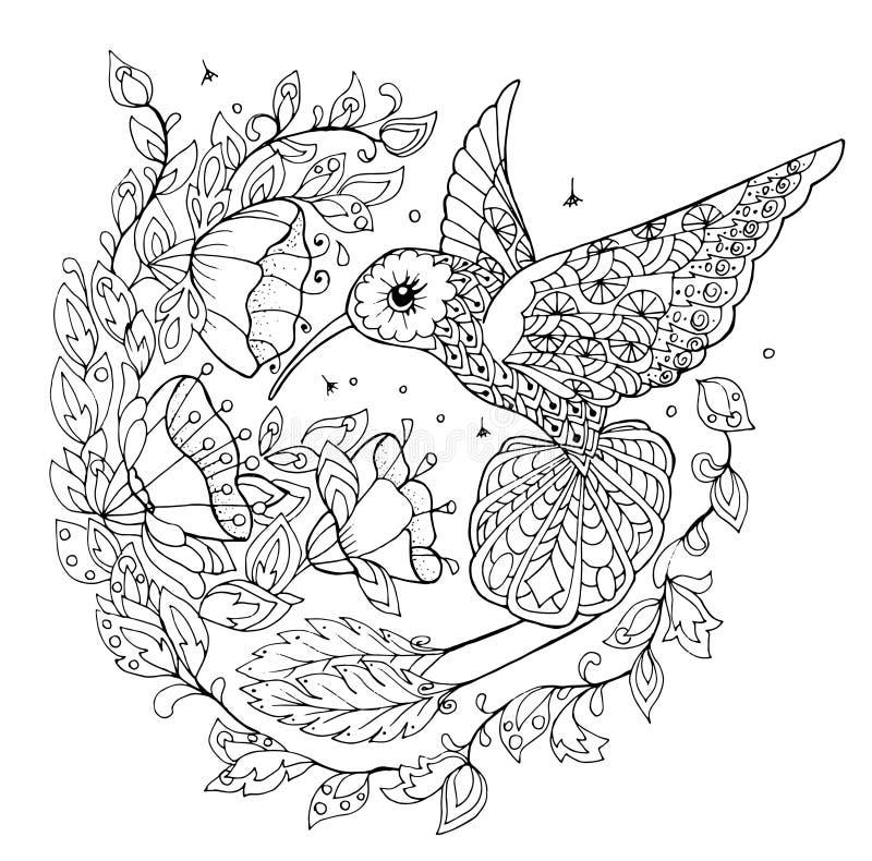 Kolibrie kleurend boek vector illustratie