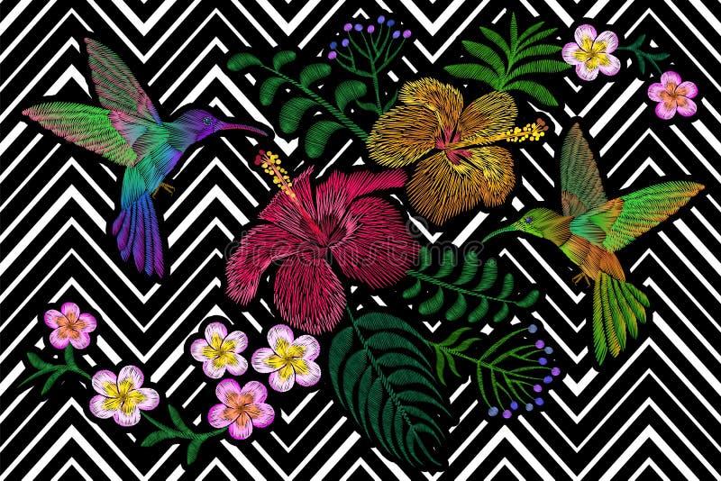 Kolibrie rond bloesem van de de hibiscus de exotische tropische zomer van bloemplumeria De textiel van de het flarddecoratie van  royalty-vrije illustratie