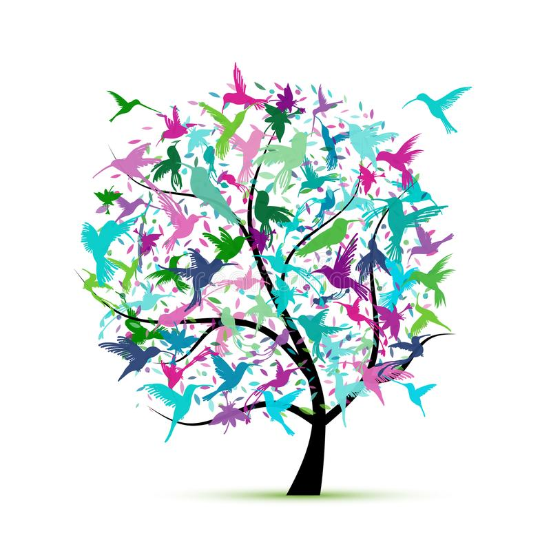 Kolibrieboom, schets voor uw ontwerp royalty-vrije illustratie