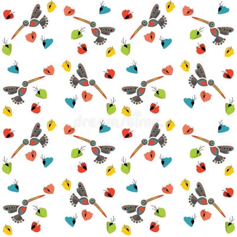 Kolibrier i blommorna, sömlös textur för utskrift på fa stock illustrationer