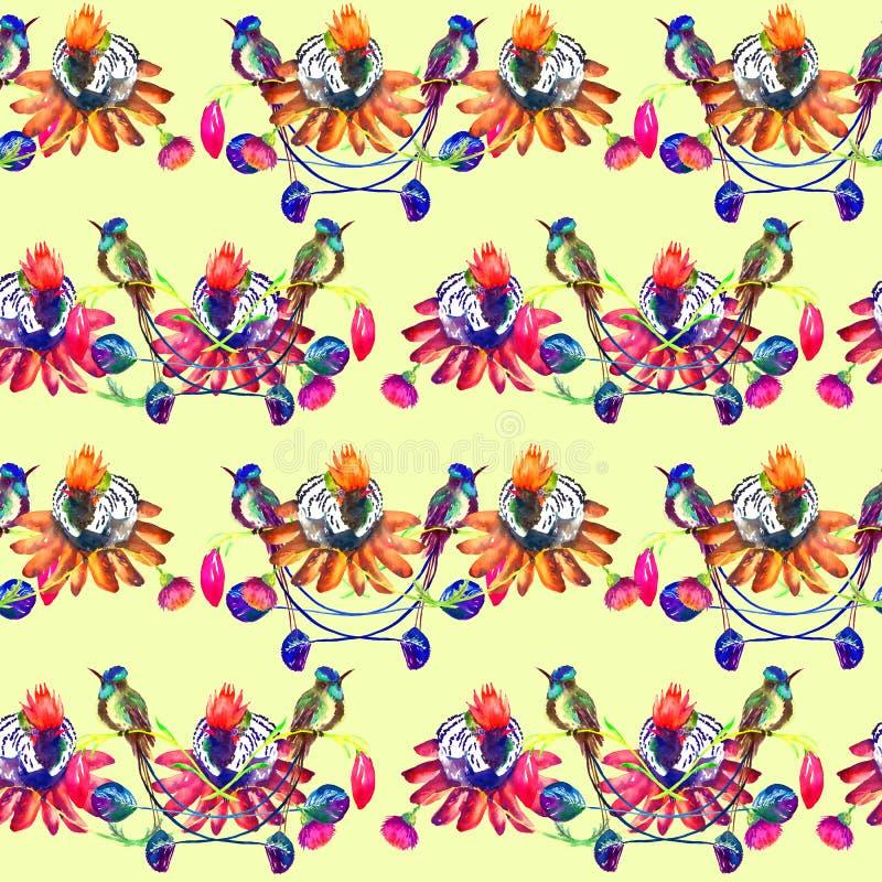 Kolibrier som sitter på rosa blommor, sömlös modelldesign royaltyfri illustrationer