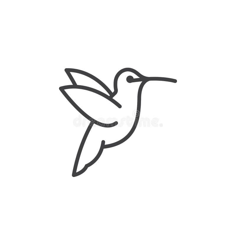 Kolibrilinje symbol, översiktsvektortecken royaltyfri illustrationer