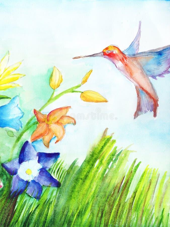 Kolibrin flyger till blommor till mot efterkrav nektar paper vattenfärg kopiera avstånd stock illustrationer
