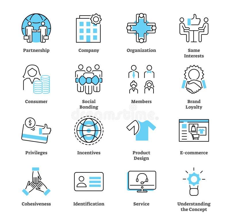 Koligaci ikony kolekci marketingowy set Targowa strategia wektoru ilustracja royalty ilustracja