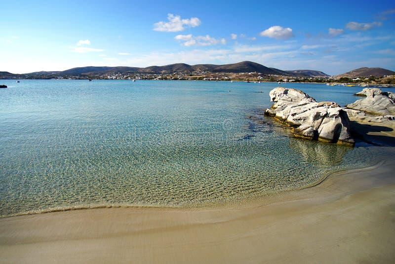 Kolimbithres海滩绿松石水透明度在帕罗斯岛海岛上的在希腊 图库摄影