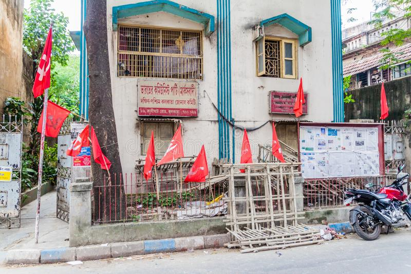KOLKATA, ÍNDIA - 31 DE OUTUBRO DE 2016: Partido comunista do escritório da Índia na estrada de Kalighat em Kolkata, Ind fotos de stock royalty free