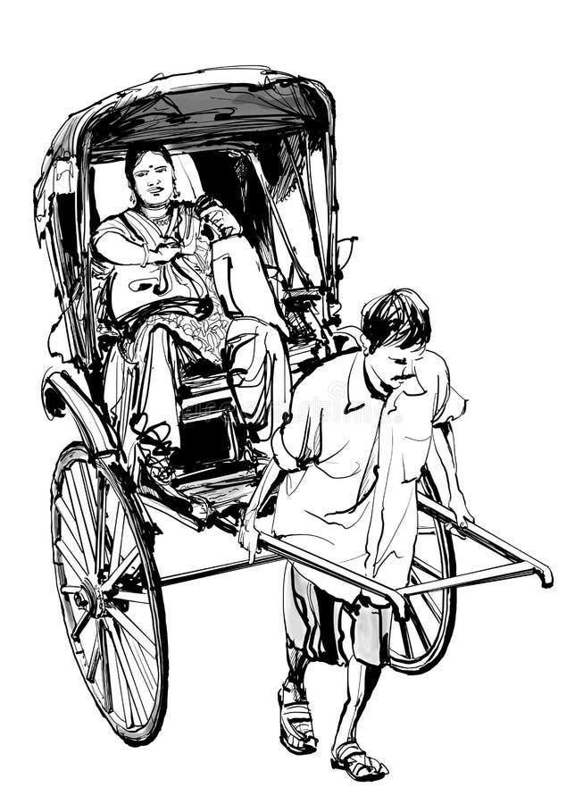 Kolkata, Индия - рисовать рикшу с пассажиром бесплатная иллюстрация