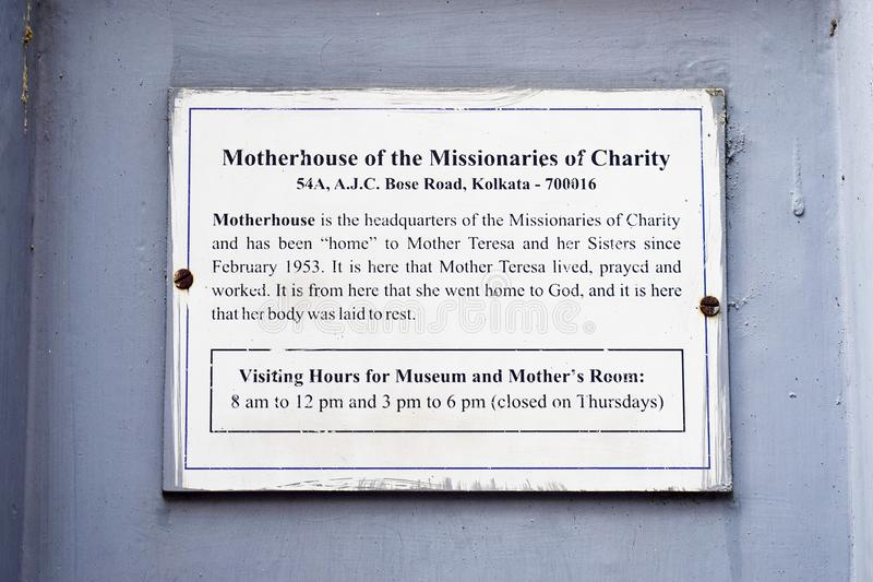 Kolkata Calcutta / India - April 10th 2019: Mother Teresa Motherhouse of the Missionaries of Charity Museum and Headquarters stock photo