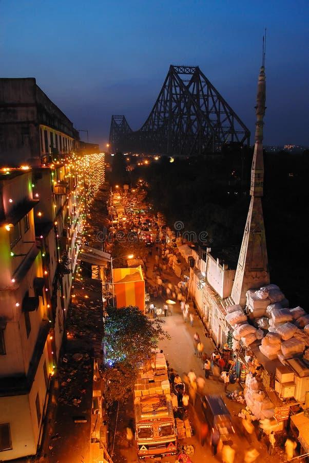 Kolkata City. June 16,2011 Barabazar,Kolkata,West Bengal,India-A distance view of Howrah bridge at Kolkata city at the evening stock photos
