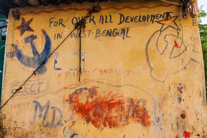 KOLKATA, INDE - 30 OCTOBRE 2016 : Peinture murale communiste au centre de Kolkata, Ind image libre de droits