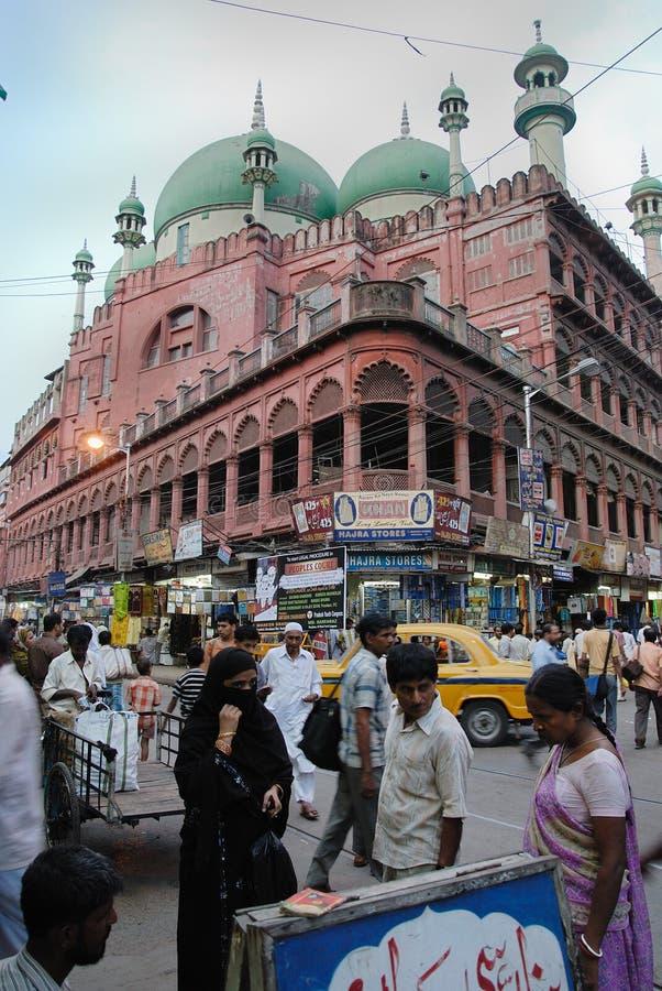 Kolkata in India. January 08.2011 Kolkata,West Bengal,India,Asia-The Nakhoda Masjid is the principal mosque of Kolkata, India, located in the Chitpur area of the stock images