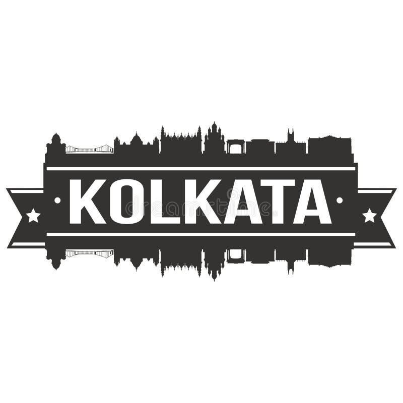 Kolkata India Azja ikony sztuki projekta linii horyzontu miasta Wektorowej Płaskiej sylwetki Editable szablon royalty ilustracja