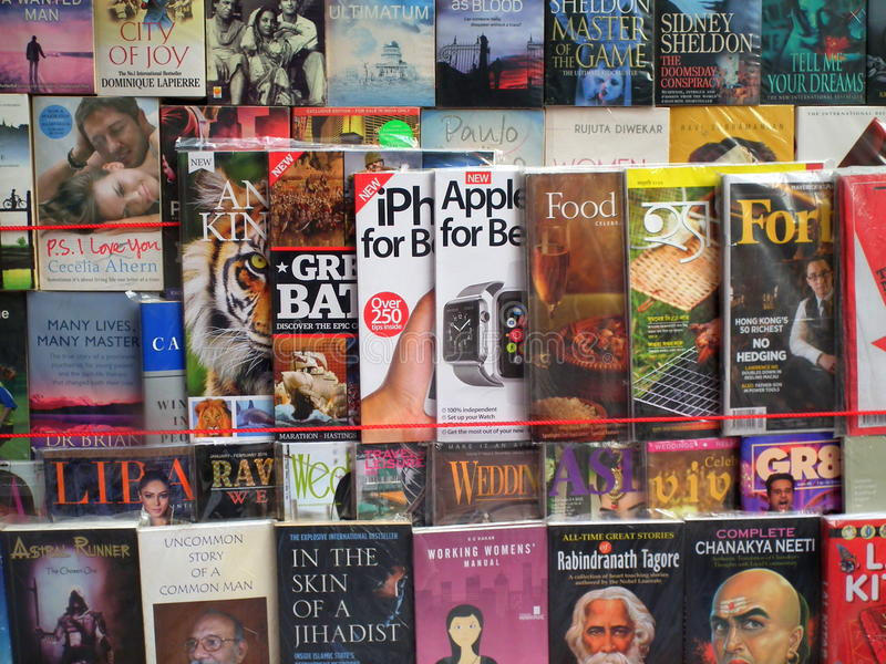 Kolkata, India - Books for Sale. Various Books from different genre such as Politics, Literature, Science and Philosophy for sale, at a roadside makeshift shop stock photo