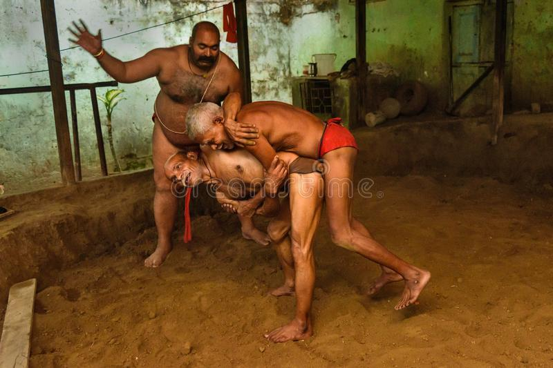 Kushti wrestlers on daily trainining in akhara. Kushti or Pehlwani is traditional form of wrestling in India royalty free stock photos