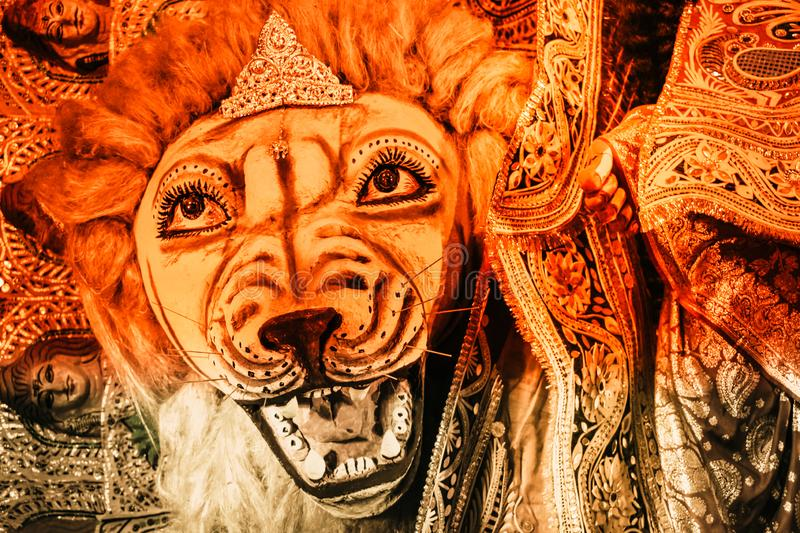 Kolkata India October 2018 - Close up portrait of Screaming horror face of King Bengal Tiger Head. Ghost cruel, Scary halloween stock photo