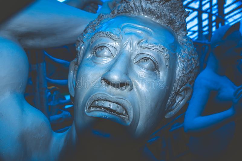 Kolkata India October 2018 - Close up portrait of Screaming horror face of royalty free stock images