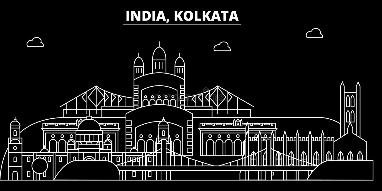 Kolkata silhouette skyline. India - Kolkata vector city, indian linear architecture, buildings. Kolkata travel. Kolkata silhouette skyline. India - Kolkata royalty free illustration