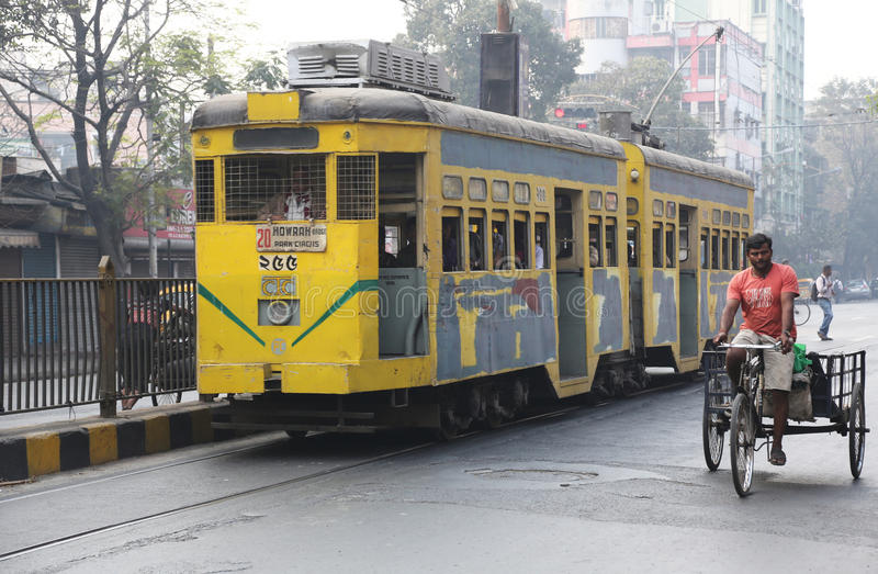 Kolkata tram. Traditional tram downtown Kolkata on February 15, 2014. Kolkata is the only Indian city with a tram network, which is operated by the Calcutta royalty free stock images