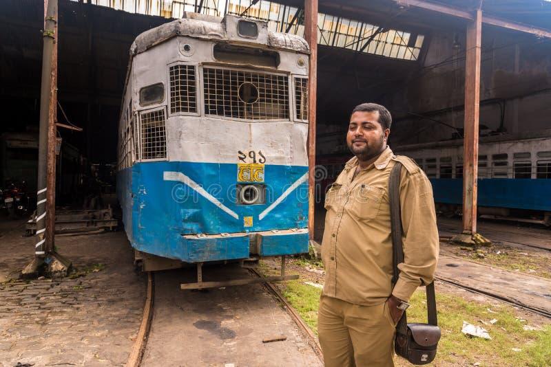 Kolkata tramwaju dyrygent fotografia stock