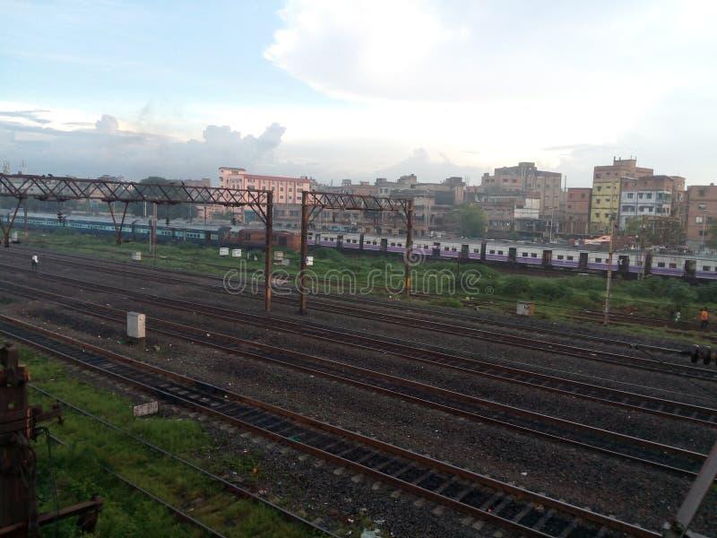 Kolkata van de spoorwegscène royalty-vrije stock afbeeldingen