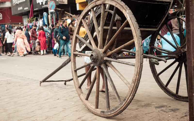 KOLKATA, WEST BENGAL, INDIA - JANUARY 5 2019: Traditional hand pulled rickshaws, also called stock photos