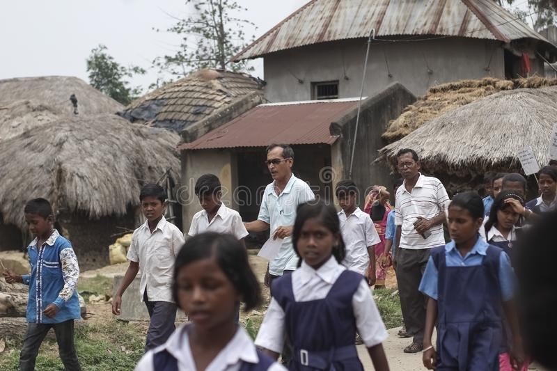 Some Indian village school students on a protest royalty free stock image