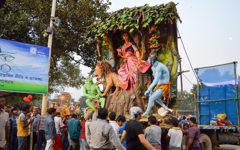 Kolkata, West Bengal, India October, 2018 – View of Durga Puja Visarjan or Goddess Durga Immersion Bhasan in Prinsep Ghat stock photos