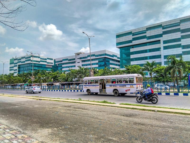A view of Candor Tech Space Kolkata with busy daily traffic. The park, equipped royalty free stock image