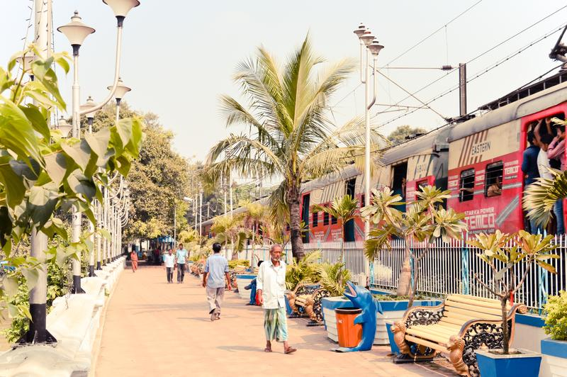 Kolkata, West Bengal, India 1st January, 2019 – Landscape View of Prinsep Ghat railway station adjacent to Prinsep Ghats along royalty free stock images