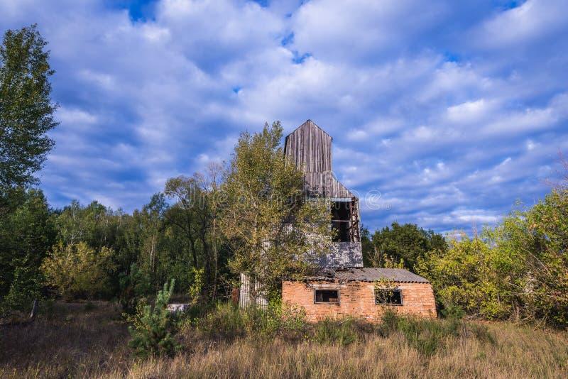 Kolkhoz na zona de Chernobyl imagem de stock
