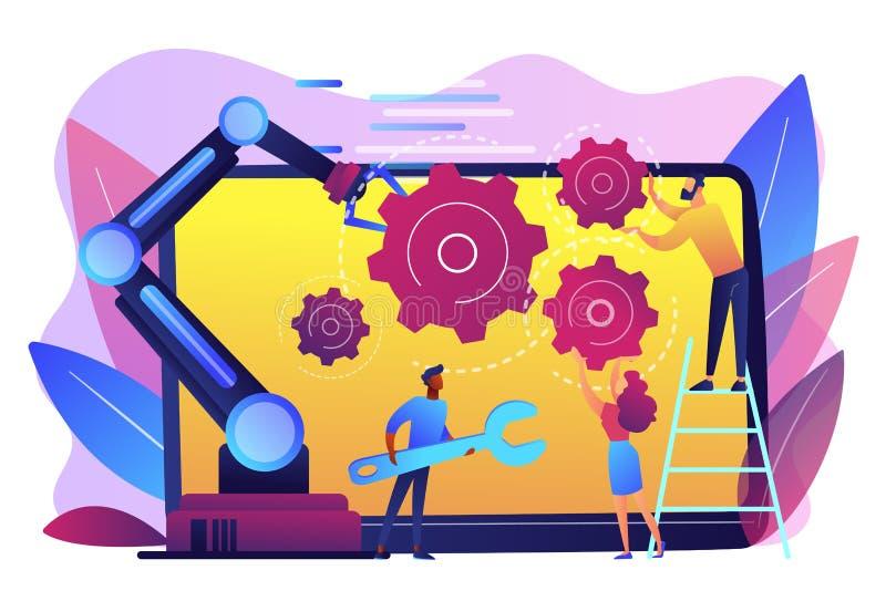 Kollaborativ illustration för robotteknikbegreppsvektor royaltyfri illustrationer