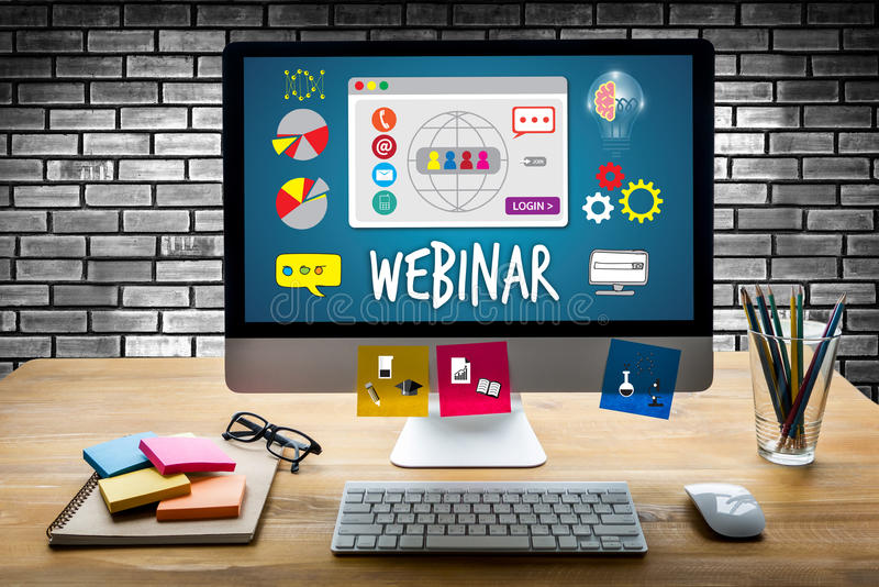 Kollaborativ Webinar online-E-lärande rengöringsdukWebcast teknologi royaltyfri bild