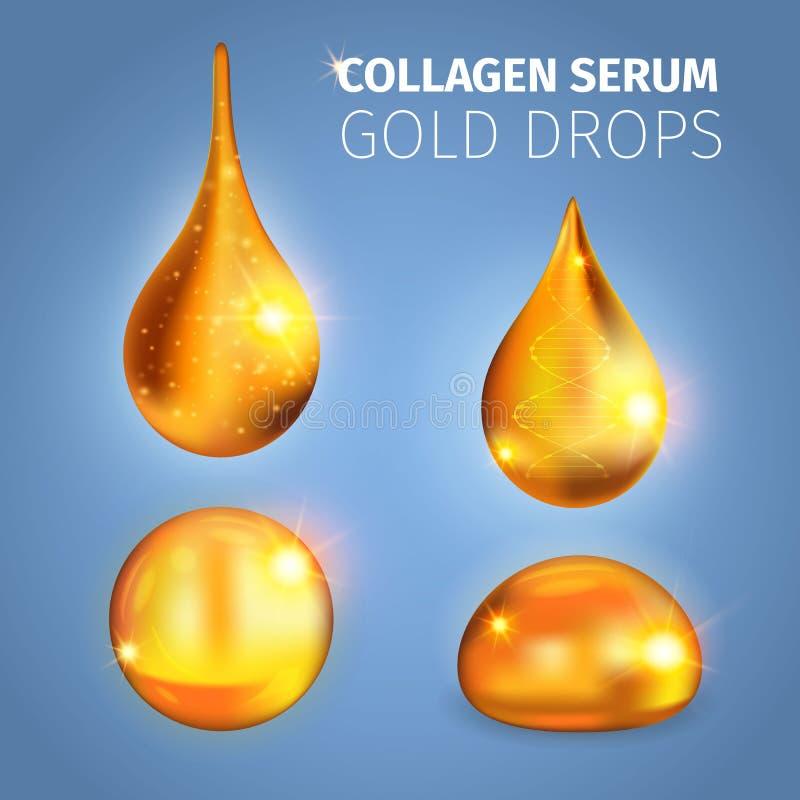 Kollagen-Serum-goldene Tropfen vektor abbildung