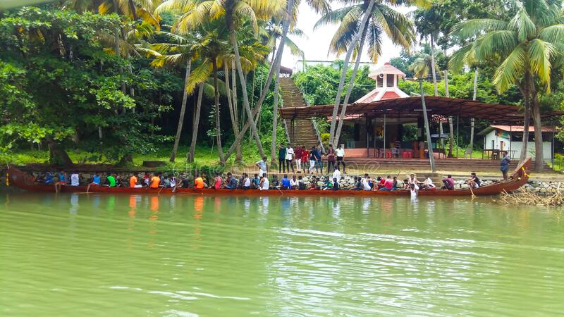 10/02/2020-Kollam, India: Players practicing for Vallam Kali (Boat Race) in Ashtamudi Lake, Kerala royalty free stock photos