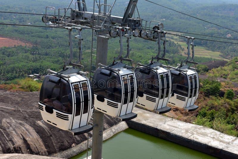 Kollam, Kerala, Inde - 2 mars 2019 : Le tour de funiculaire au parc naturel de Jatayu photographie stock