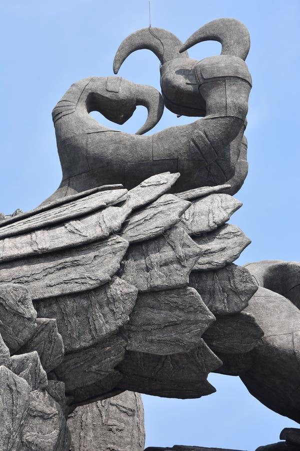 Kollam, Kerala, W skrzydłach Jatayu rzeźba fotografia royalty free