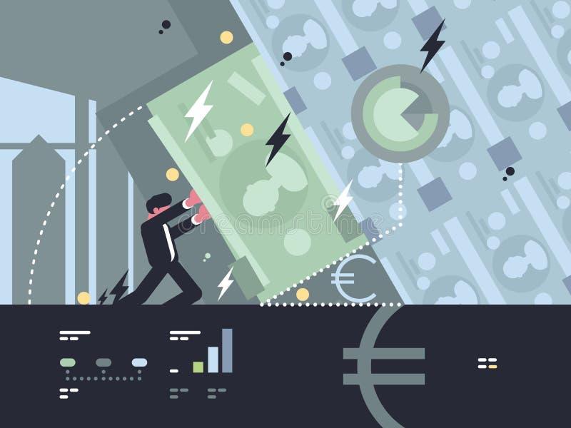Kollaps och nedgång av banken vektor illustrationer