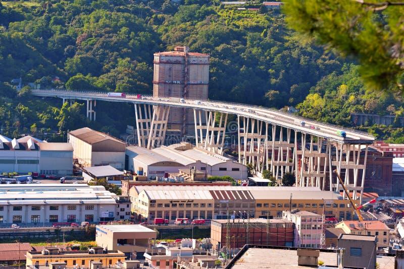 Kollapsade Ponte Morandi Genua Italien arkivfoto