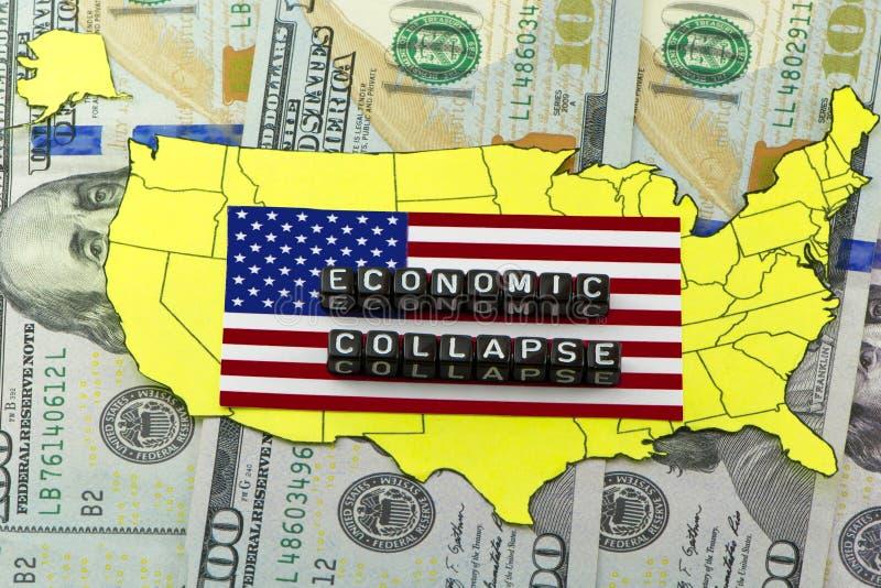 Kollapsen av det ekonomiska systemet för USA arkivbilder