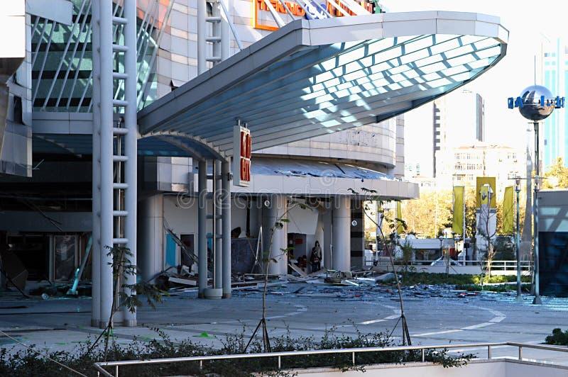 Kollateraler Bombenschaden des Einkaufszentrums lizenzfreies stockbild