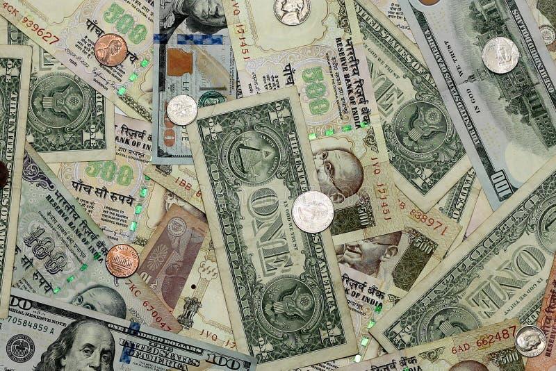 Kollation av INR & USD royaltyfri foto